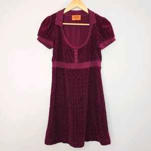 Juicy Couture Wine Velour Short Sleeve Small Dress